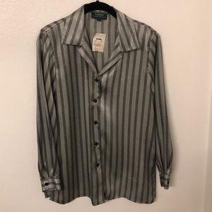 LAUREN Ralph Lauren Silk Striped Button Up Blouse